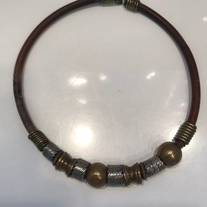 Vintage leather and brass necklace